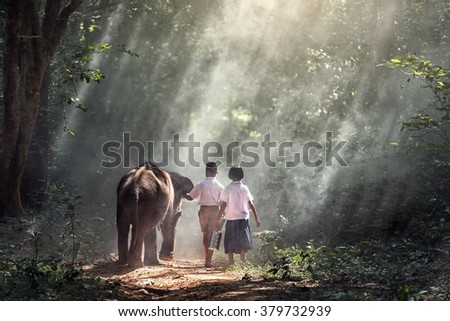 Student little asian boy and girl, countryside in Thailand