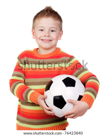 Student little child with soccer ball isolated on white background