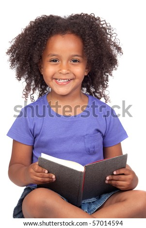 Student little girl reading with a book isolated over white - stock photo