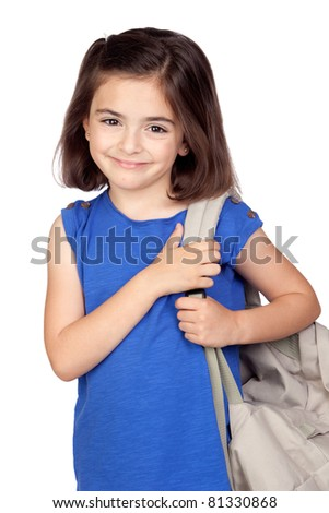 Student little girl with a backpack isolated on a over white background - stock photo