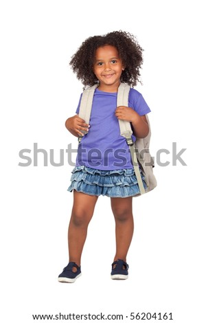 Student little girl with beautiful hairstyle isolated over white - stock photo