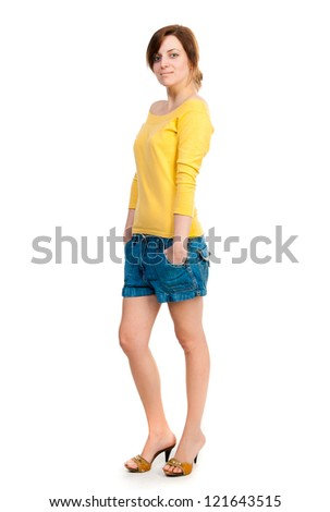 student looking at the camera on a white background - stock photo