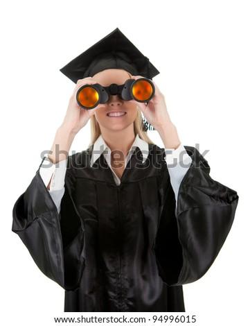 Student looking through binoculars - stock photo