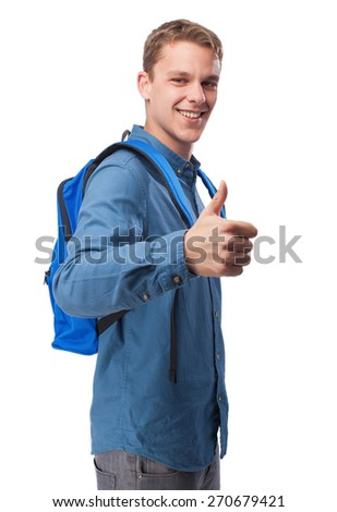 student man with back-pack doing okay sign - stock photo