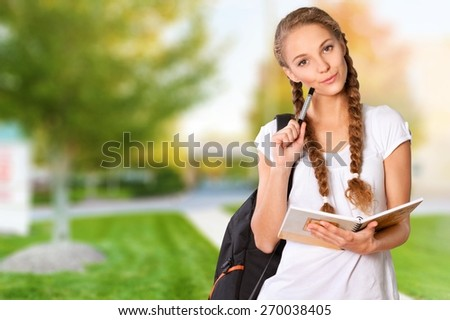 Student. Mixed race college student - stock photo