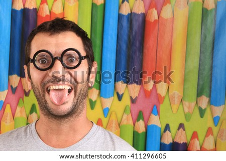 student nerd boy - stock photo