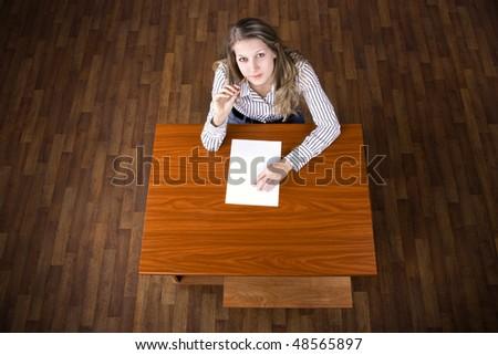 Student on examination - stock photo
