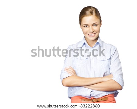Student on isolated background