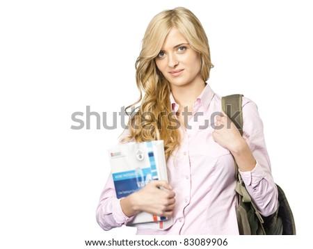 Student On white background - stock photo