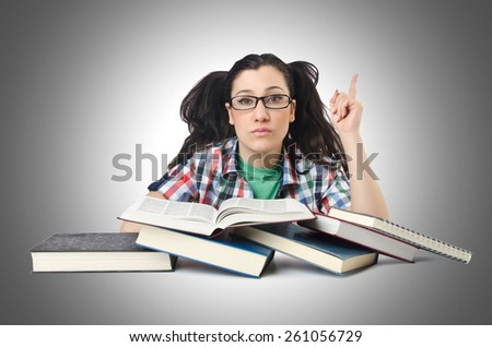 Student preparing for the exams - stock photo