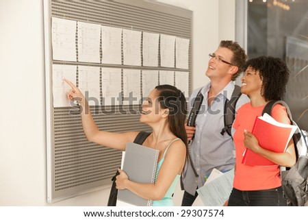 Student reviewing results - stock photo