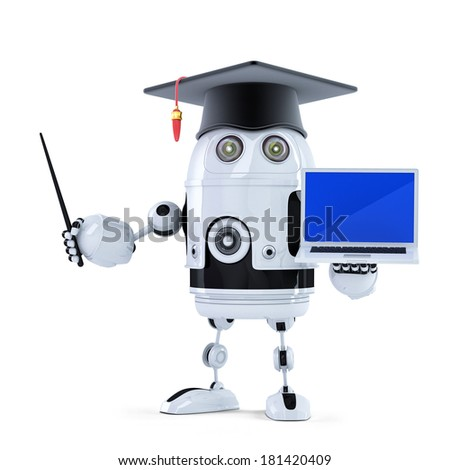 Student robot with pointer and laptop. Isolated - stock photo