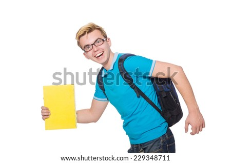 Student rushing to the lesson isolated on white - stock photo