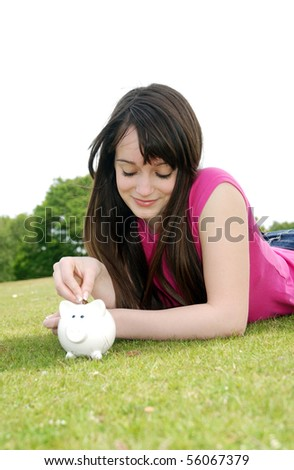 Student saving money - stock photo