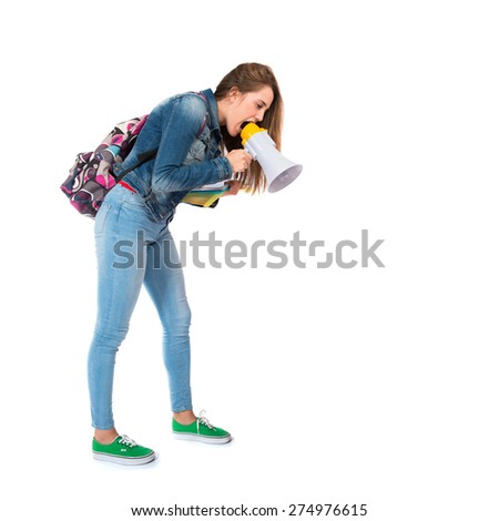 Student shouting down - stock photo