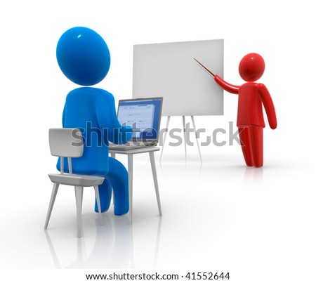 Student sitting behind laptop and teacher pointing at the whiteboard.