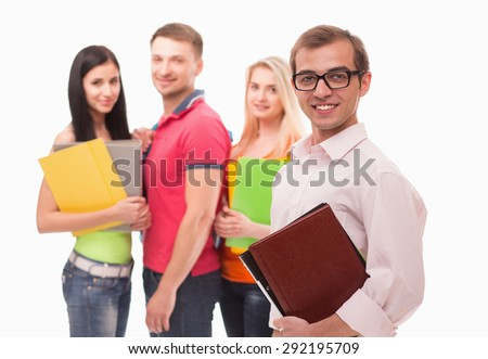 Student smiling islolated on white background. Man in white shirt keeping document cases at his hand.