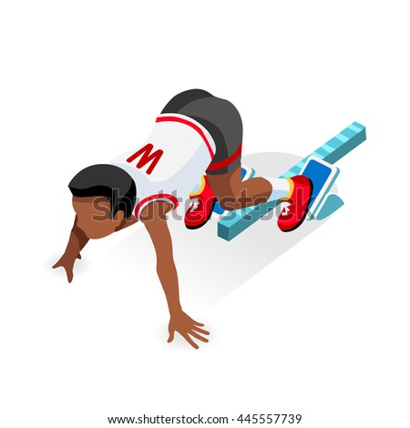 Student Sprinter College Runner Athlete at Starting Line Athletics Race Set.3D Flat Isometric Sport of Athletics Student Runner Athlete at Starting Blocks.College Sports Infographic Image. - stock photo