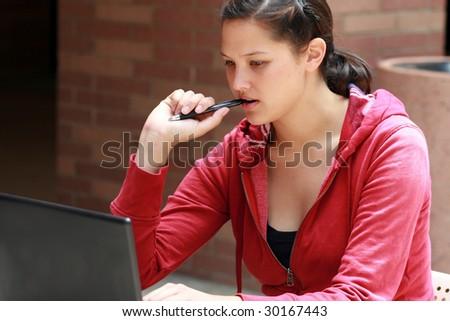 student studying - stock photo