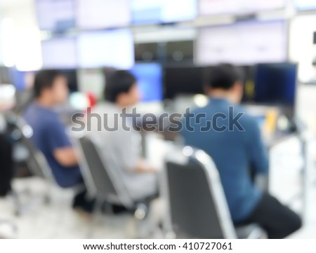 student studying or making computer programming code project:blur people working researching data information in the laboratory testing:development of modern technology concept:meeting and decision - stock photo