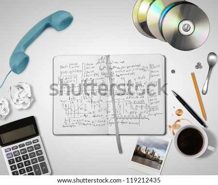 student table on white background - stock photo
