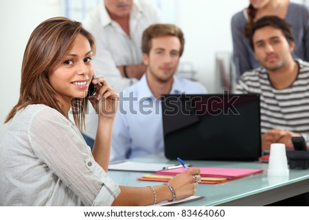 student talking on the phone - stock photo