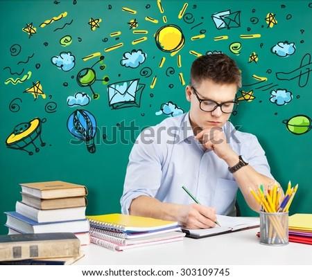 Student, teacher, classroom. - stock photo