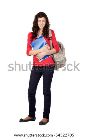 Student teen girl isolated on white background - stock photo