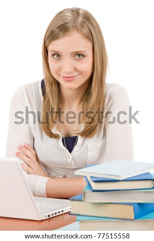 Student teenager happy woman with laptop book