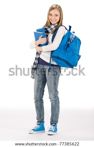 Student teenager happy woman with schoolbag book - stock photo