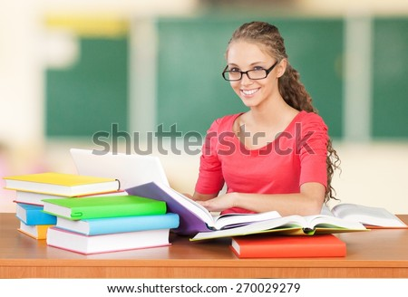 Student, Teenager, Studying. - stock photo