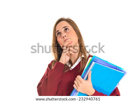Student thinking over isolated white background   - stock photo