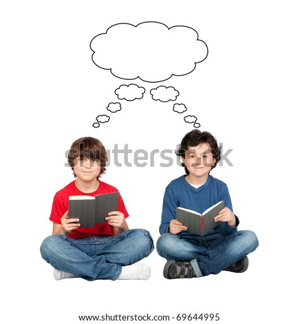 Student thinking with a book isolated over white background - stock photo