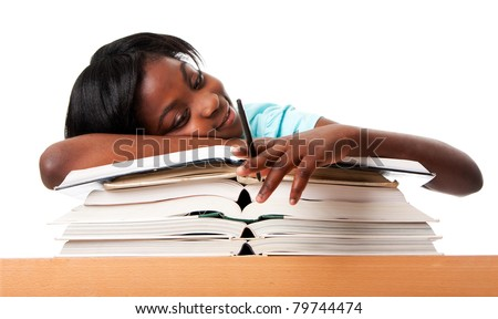 Student tired of doing homework studying with pen laying unmotivated on stack open books, isolated.