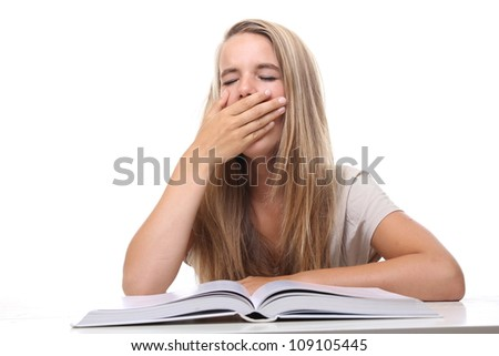 student tired of homework - stock photo