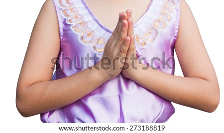 student wear uniform Thai welcome isolate  - stock photo