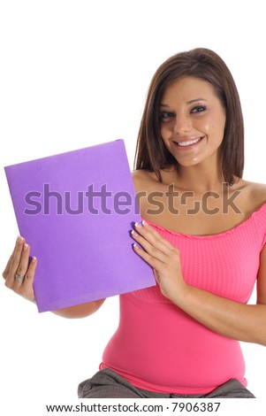 student with a folder - stock photo