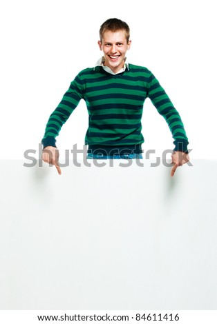 student with a white banner for your text box or text - stock photo