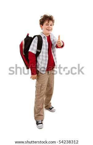 Student with backpack showing OK sign isolated on white - stock photo