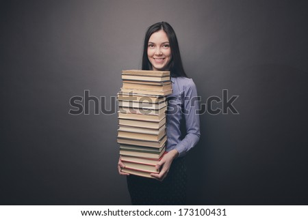 Student with books - stock photo