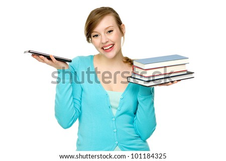 Student with books and digital tablet - stock photo