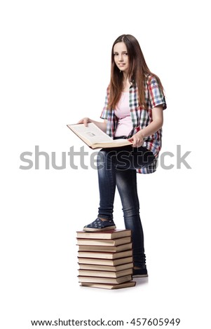 Student with books isolated on the white background - stock photo