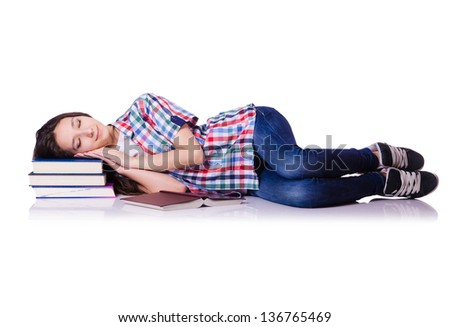 Student with books isolated on white - stock photo