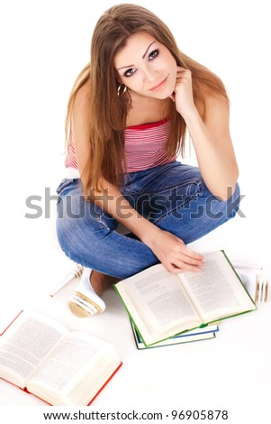 student with books, isolated on white - stock photo