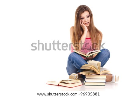 student with books, isolated on white