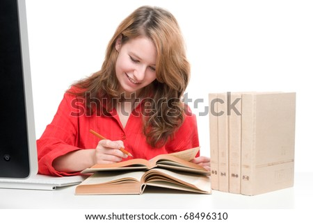 Student with computer and books - e-learning concept - stock photo