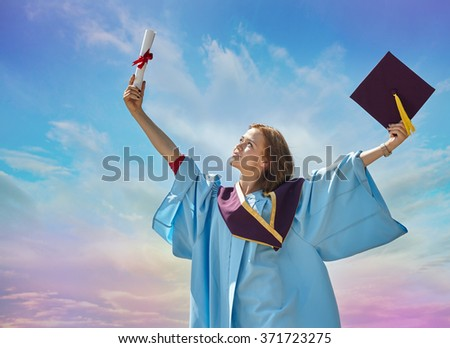 Student with congratulations - stock photo