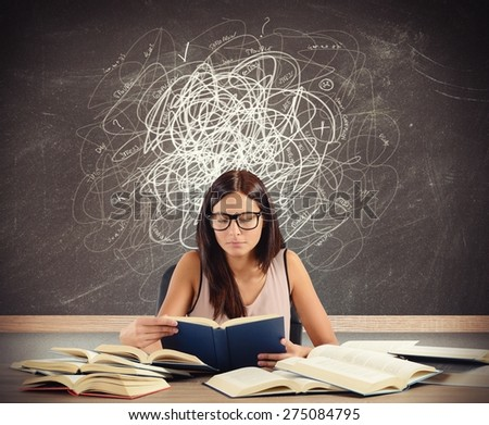 Student with doubts and gaps in matters - stock photo