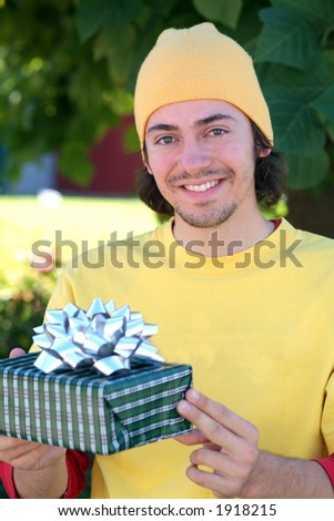 student with gift - stock photo