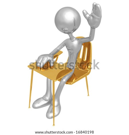 Student With Hand Raised - stock photo